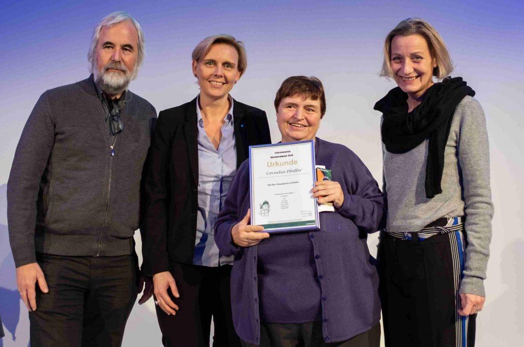 Cornelia Pfeiffer bei der Ohrenschmaus-Preisverleihung 2019 im Museumsquartier Wien.